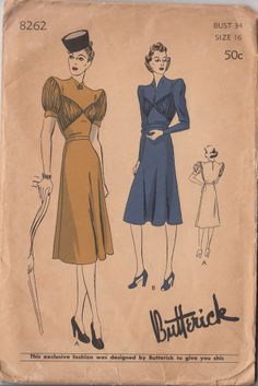 39 Butterick 8262 New Shrug Shoulder Shirred Inset Dress Sz16/34/37 37.55+1.9 12bds 4/17/14 Frock w/the new shrug shoulder.Front yoke.2styles of sleeves in wrist or shorter length.2Pc flared skirt attached at natural waistline. 12pcs