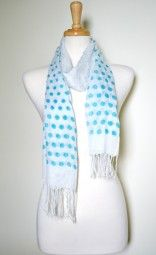 Polka dots are fun and flirty for the spring and summer season.  This lightweight blue polka dots summer scarf is perfect. $12.99 Use code PINIT at checkout for 10% off your entire order.