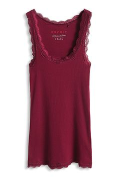 Red ribbed jersey top by Esprit