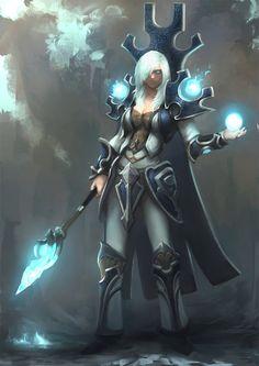 Jaina by jang ju hyeon on ArtStation. Fantasy Witch, Fantasy Wizard, Medieval Fantasy, Character Concept, Character Art, Character Design, Character Ideas, Concept Art, Jaina Proudmoore