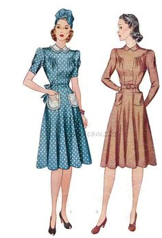 Vintage 1940s Dress Pattern Simplicity 3387 Peter Pan Collar Flared Dress by sydcam123