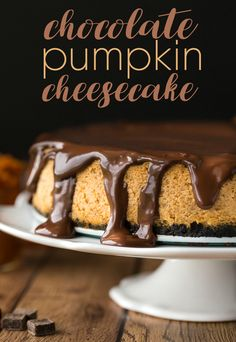 Pumpkin Cheesecake - Prepared with a chocolate cookie crumb crust ...