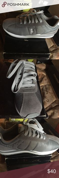 Polo worn once gray tennis shoe Worn only once in great condition tennis shoe really cute shoe Polo by Ralph Lauren Shoes Sneakers