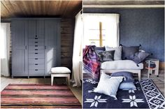 love the wardrobe on the left / the pairing of farmhouse style with the more modern, art classroom drawers