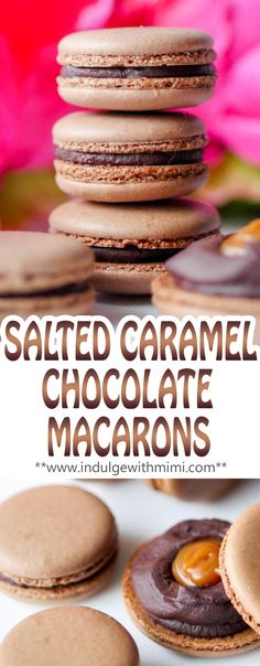 Chocolate INFUSED Macaron shells filled with Salted Caramel and surrounded with a ring of chocolate.