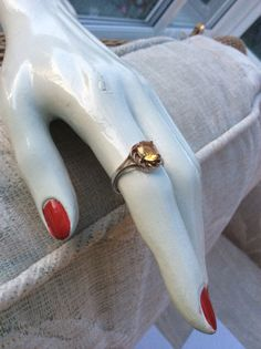 Amber Glass Ring Art Deco Ring Sterling Silver Ring by OurBoudoir