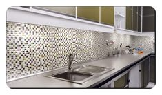 Mutfak-Tezgah-Arasi-Cam-Dekorasyon Mutfak tezgah arası cam mozaik modelleri Decor, Cabinet, Kitchen, Home Decor, Sink, Kitchen Cabinets