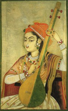 A Lady Playing the Tanpura, 1735. Mughal.