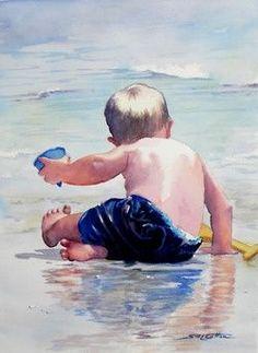 Child on a beach - nice idea - watercolor art