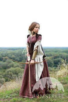 """Robe medievale en lin """"archère"""" avec tunique et corset"""