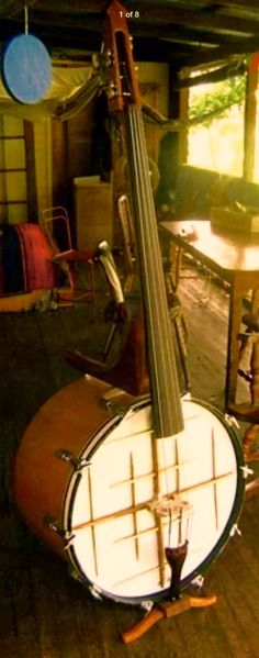Bass Drum Bass, similar in design to a Chinese GeHu, the Cultural Revolution's replacement for the decadent European Cello, except this is a Bass! (P.S., I love the cello, I was just kidding.)