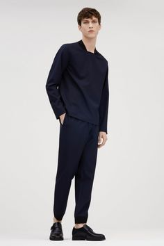 Malthe Lund Madsen wears a COS ribbed square-neck top with cuffed trousers and grip-sole monk strap shoes. Fashion Moda, Men's Fashion, Fashion Outfits, Fashion Design, Fashion Week 2015, Stylish Outfits, Cos Man, Stylish Men, Men Casual