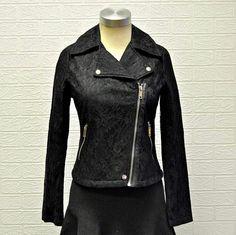 Lovely biker jacket now available at Biker, Leather Jacket, Lace, Jackets, Fashion, Studded Leather Jacket, Down Jackets, Moda, Leather Jackets