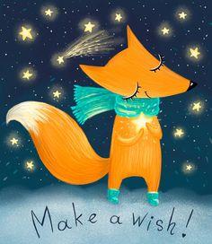 Make a wish! Fox Drawing, Serpentina, Fox Art, Kawaii, Children's Book Illustration, Nursery Art, Cute Art, Art Lessons, Painted Rocks