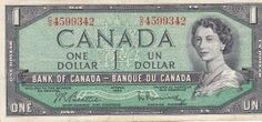 Canadian Banknotes One Dollar Note 1967 Centennial of Canadian Confederation Bank of Canada - Banque du Canada On 3 January Canadian Dollar, Canadian Coins, I Am Canadian, Canadian History, Cash Money, Old Money, Elizabeth Ii, Ottawa, Canadian Confederation