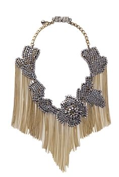Shourouk - leather bib necklace with crystals, and brass chain