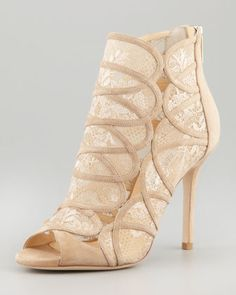 Fauna Lace-Suede Cage Sandal, Nude by Jimmy Choo at Neiman Marcus.