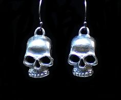 "Until Death, Inc. ""Creepy Skull"" Solid .925 Sterling silver.   Dangle Earring Pair. by UntilDeathInc.com"
