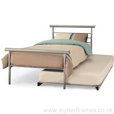 Single silver finished metal bed frame with extra underneath rollaway guest bed. Small Single Standard Single Free next day delivery supplied by Serene Furnishing.