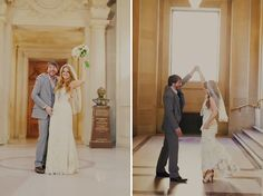 Super sweet City hall wedding with pictures and picnic afterwards