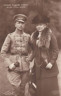 Prince Joachim of Prussia with his mother, Empress Augusta Viktoria, circa 1918. Joachim was Augusta's favorite son.