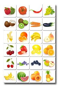 free printable memory game - fruits & vegetables (memozor.com)