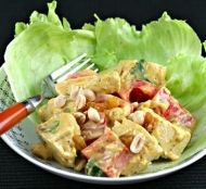 Interesting lunch or dinner recipe for Curried Chicken Salad with red pepper, peanuts and raisins
