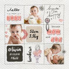 template baby card birth sweet girl child digital kit