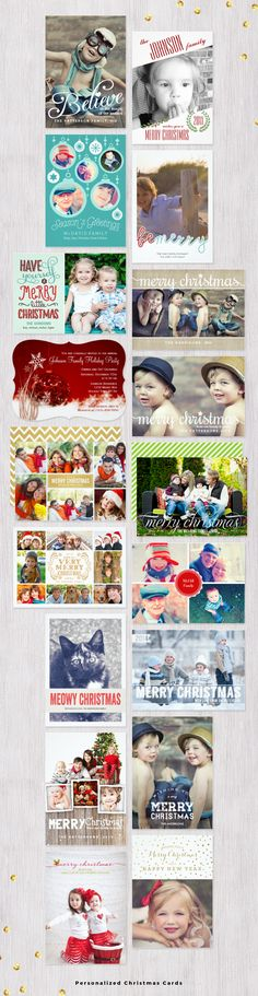 Personalized Christmas Cards and Holiday Cards.  Add your own family photos and custom text to these personalized Christmas cards, printed on your choice of paper. #christmascards