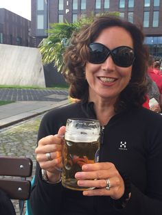 Enjoying a beer by the Brauhaus in Hamburg - by Travellenineurope.com
