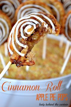Cinnamon Roll Apple Pie Pops - The outside is a cinnamon roll and in the side is a apple pie that you would swear has caramel in it.  These are so easy to make using Pillsbury's ready made pie crust dough.