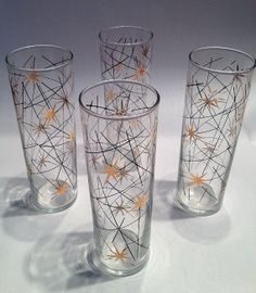 SET of 4 Atomic Age Drinking GLASSES midcentury starburst pattern on Etsy, $23.50