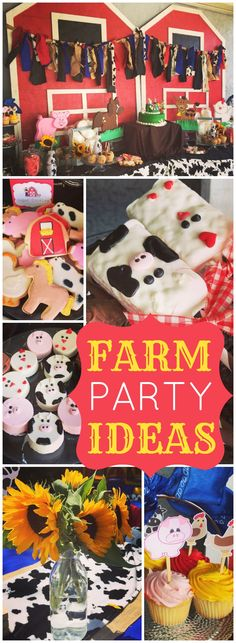 What a fun farm party with a petting zoo and a barn themed dessert table! See more party ideas at CatchMyParty.com!