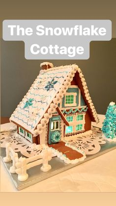 My third gingerbread house ever! The snowflake cottage with flooded royal icing roof, appliqué RI snowflakes, blue candy windows, LED lights and mor. Gingerbread House Designs, Gingerbread Village, Gingerbread Decorations, Christmas Gingerbread House, Christmas Cookies, Christmas Baking, Christmas Crafts, Ginger House, Blue Candy