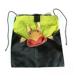 Leather women mens cross body messenger shoulder purse handbag evening hippie hobo tote bag / Handmade & Painted bag hippopotamus LEB8