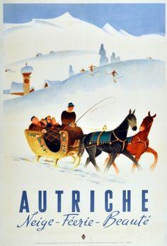 Autriche Neige Austria Snow (Autriche  Neige Feerie Beaute / Austria Snow Enchantment Beauty), 1947 - original vintage poster by Hermann Kosel listed on AntikBar.co.uk