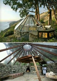 I Love Unique Home Architecture. Simply stunning architecture engineering full of charisma nature love. The works of architecture shows the harmony within. Glamping, My Dream Home, Dream Big, Future House, Interior And Exterior, Yurt Interior, Tiny House Exterior, Rustic Exterior, Simple Interior