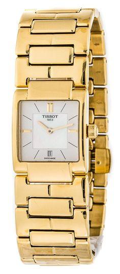 acb8ed0b82ae Tissot T02 Square WHT Pearl Dial Gold PVD Women s Watch T0903103311100