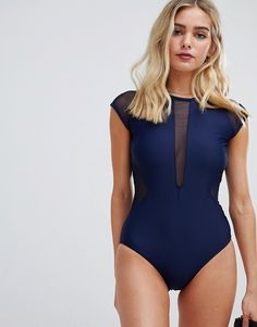 637ea6031ab3e Unique21 capped sleeve swimsuit with mesh detail