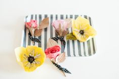 DIY Boutonniere project for West Elm - Michelle Edgemont Design Paper Lace, Paper Flowers Diy, Handmade Flowers, Diy Paper, Paper Crafts, Diy Flower, Sugar Flowers, Flower Making, West Elm