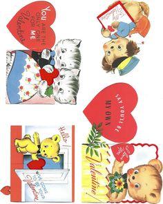 free printable retro valentine cards
