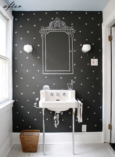 great idea: paint the frames for your mirror, and stamp decorate the wall !