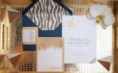 Gorgeous modern blue and gold event styling. Invitation Paper, Invites, Wedding Invitations, Wedding Designs, Wedding Styles, Wedding Ideas, Blue Gold Wedding, July Wedding, Rose Photography