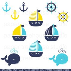 Sailboats, Anchors and Whales - Printable Clip Art Set - Navy Yellow and Teal - Eleven Files - ID 100 Nautical Nursery, Nautical Baby, Nautical Theme, Nautical Style, Nautical Clipart, Beach Clipart, Art Clipart, Whale Art, Paper Tree