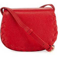 Cynthia Rowley Madison Small Whipstitch Saddle Bag ($98) ❤ liked on Polyvore featuring bags, handbags, shoulder bags, red, pebbled leather handbags, red handbags, cynthia rowley purses, cynthia rowley and red purse