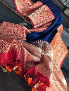 Pure Katan Silk Banarasi - Navy Blue Red Orange – Panache-The Desi Creations Orange Saree, Blue Saree, Bottle Green Saree, Khadi Saree, Silk Sarees, Katan Saree, Saree Blouse Neck Designs, Stylish Blouse Design, Kurti Designs Party Wear
