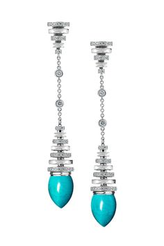Avakian turquoise earrings in white gold with diamonds, from the Riviera collection.