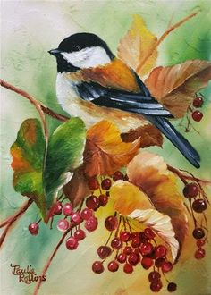 "Daily Paintworks - ""Autumn Chickadee 2"" - Original Fine Art for Sale - © Paulie Rollins"