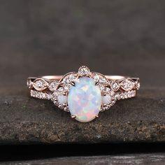 Opal Wedding Ring Set, Fire Opal Engagement Ring, Alexandrite Engagement Ring, Engagement Sets, Curved Wedding Band, Dream Engagement Rings, Wedding Rings, Vintage Opal Engagement Ring, Vintage Opal Rings