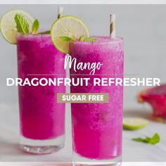 Make a delicious Mango Dragonfruit Refresher at home! Keep it healthy by using just a few healthy ingredients, and save money. I love this drink with soda water, but you can also make a Mango Dragonfr Kid Drinks, Fruity Drinks, Refreshing Drinks, Mango Drinks, Colorful Drinks, Beverages, Cool Drinks, Frozen Drinks, Juice Smoothie